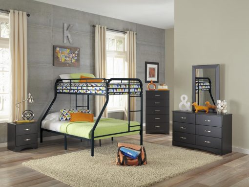 115- Black Twin Over Full Bunkbed