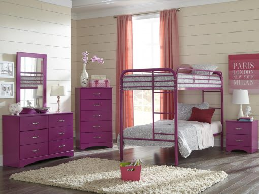 171-Raspberry Twin Over Twin Bunkbed